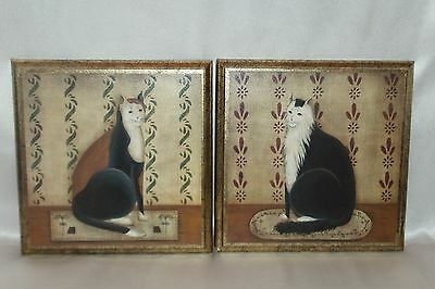 """Vintage Pair of Sitting Cats Wood 9"""" Gallery Wall Plaques Set of 2"""