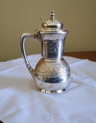 Victorian Silver Plate Faces Syrup Pitcher Meriden Floral Embossed Chased