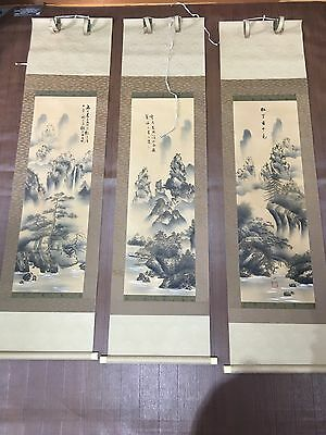 Japanese Ink Wash Painting. Set of 3 landscapes