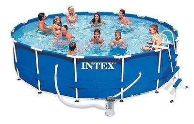 Intex Metal Frame Pool Outdoor Above Ground - 4.57m x 84cm 15 ft x 33""