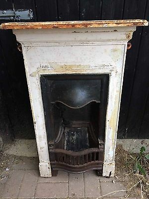 Small Vintage Victorian Cast Iron Bedroom Fireplace Combination Chimneypiece