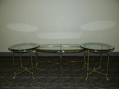 Vintage Italy Brass Hoof Foot Coffee and End Tables Set - Glass Labarge Regency