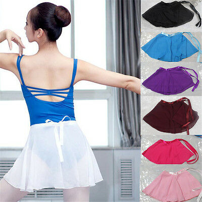 7 Colors Girls Ballet Leotard Wrap Scarf Tutu Dance Skirt Skate Chiffon Dress