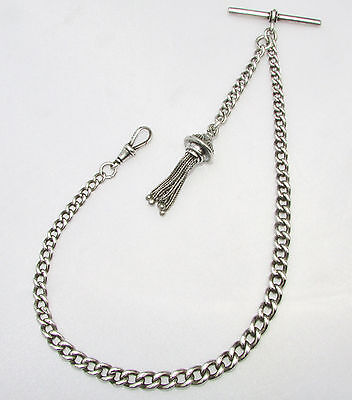 Old antique sterling silver Albert watch chain & tassel 32 grams dated 1901