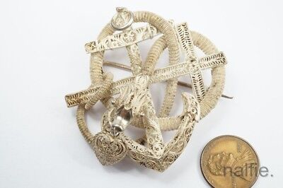 Unusual Antique Chinese Silver Filigree Snake Shaped Faith Hope & Charity Brooch