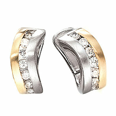 Creolen 585 Gold Weißgold Gelbgold bicolor matt 16 Diamanten Brillanten Ohrringe