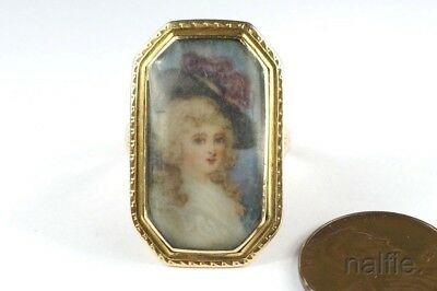 ANTIQUE GEORGIAN PERIOD ENGLISH 9K GOLD PORTRAIT MINIATURE LOCKET RING c1780