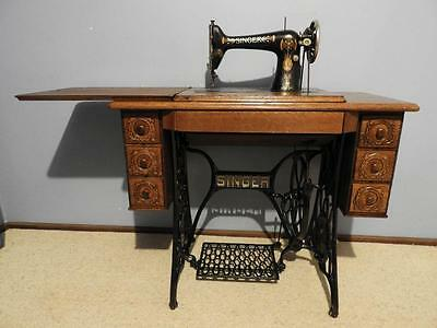 Antique Singer Treadle Sewing Machine Hall Table Industrial Shabby Chic Restored