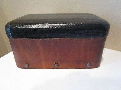 Vintage Hand Made Wood Box W/Lid Leather and Wood Hand made Box