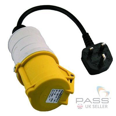 NEW PAT Testing Adaptor - 240V 13A Plug to 110V 32A 3-Pin 110V Socket (Yellow)
