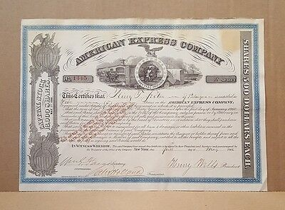 Henry Wells & William Fargo Signed American Express Stock Certificate PSA LOA!