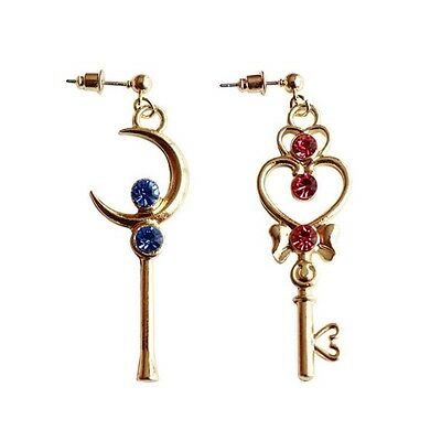 Anime Sailor Moon Time Key Moon Stick Earrings Cosplay Jewelry Fashion Ohrringe