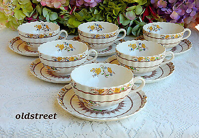 6 Beautiful Spode Oversized Cups & Saucers ~ Buttercup ~ Older Mark