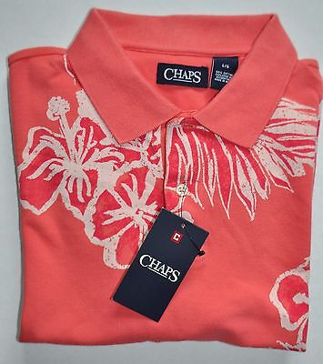 Men's Chaps Short Sleeve Polo Shirt Amalfi Red W/flowers Size L Msrp $50