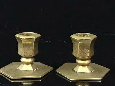 Pair of 19th Century Chinese Brass Candlesticks
