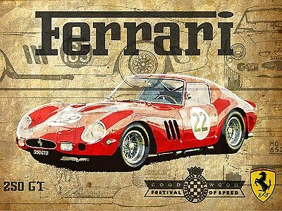 Ferrari, Retro metal Aluminium Sign Vintage Garage shed Man Cave wall