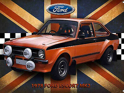 Mark 2 Escort, Retro metal Aluminium Sign Vintage Garage shed Man Cave wall art