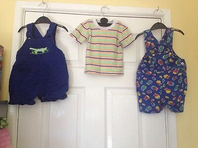 2 Pairs Of Short Dungarees And 1 Tshirt Boys 12-18 Months