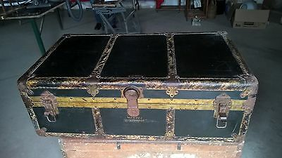 Mendel Drucker Antique suitcase 1920's Steamer Trunk ark coffer Doostproof 39""