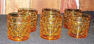 Lot of 6 Amber Dots Dimpled Coin Slot Thumbprint Vintage Lowball Juice Glass