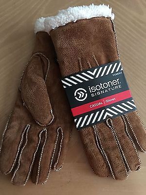 (NEW) Isotoner Brown Leather/Suede Shepra Lined Gloves W/Moccasin Stitch Size XL