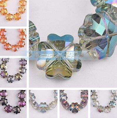 5pcs 16mm Big Four Heart Faceted Crystal Glass Charm Loose Spacer Beads Findings