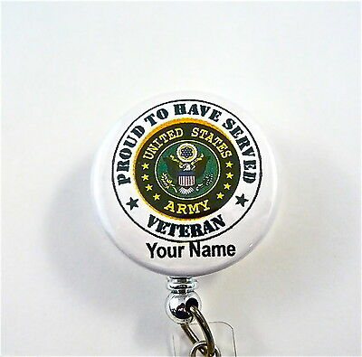 Us Army Veteran Proud Id Badge Retractrable Medic,dr,nurse,er,rn,military