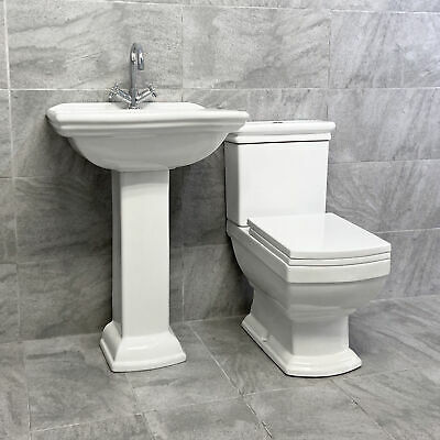 Harriet Art Deco Style Basin & Toilet Set Bathroom Suite Sink Traditional Style