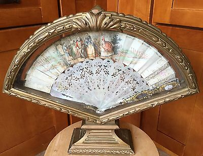 Antique 17-1800 French Mother of Pearl Hand Painted Fan in gilded Lock Case