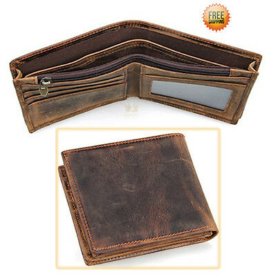KMBEST CLASSIC Slim Men's Genuine Leather RFID Blocking Money Clip Bifold Wallet