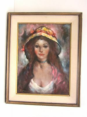 Turner Original Oil Painting Woman in Hat Portrait Signed Framed