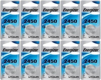 10 Energizer Lithium CR2450 2450 ECR2450 3V Coin Cell Batteries
