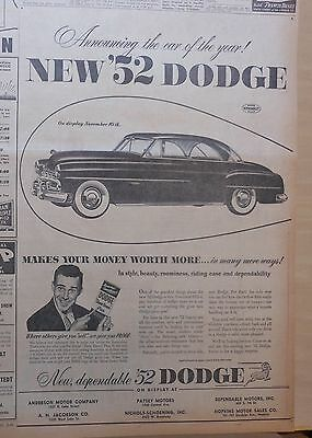 Large 1951 newspaper ad for Dodge - 1952 model, Makes Your Money Worth More