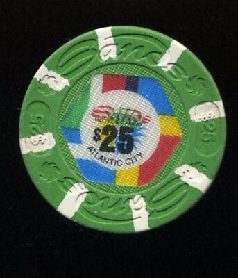 Old $25 SANDS CASINO CHIP ATLANTIC CITY -White Inserts