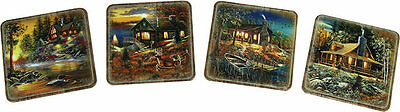 Rivers Edge Products Coaster Set Cabin, Cork, 4 Piece