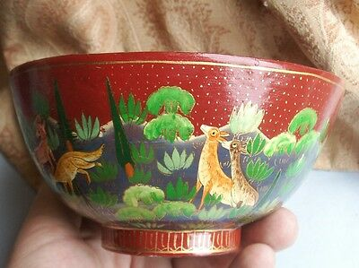 Old Vintage Kashmir Hand Painted Lacquer Red Wooden Bowl Indian Animals Painting