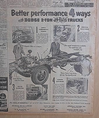 1951 newspaper ad for Dodge Trucks - 2-Ton Trucks chassis & feature illustration
