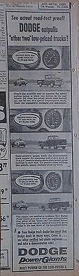 "1957 newspaper ad for Dodge Pickups - Road Test Proof Dodge ""outpulls"" others"