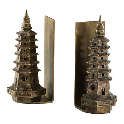 """Asian Pagoda Iron Gold Leaf Bookends Multi-Tiered Book Ends 10""""H Cyan Design"""