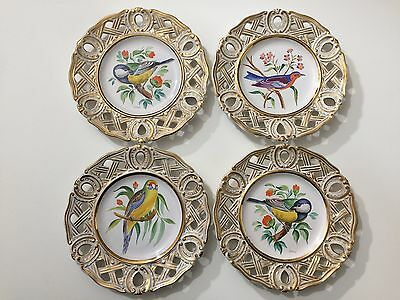 "Set of 4 Vintage Italy Hand Painted Birds Decor Plates by Lorsi, 8 1/2"" Diameter"