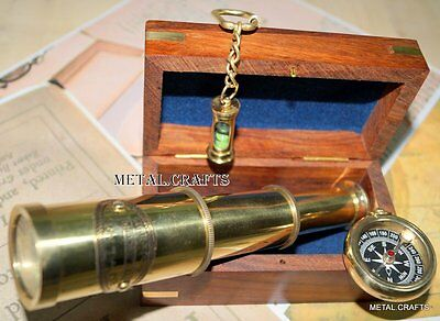 "Antique Brass Compass & Vintage Telescope 6"" Marine Classic Gift Set W/ Wood Box"