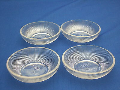 LITTLE DEB Child's 4 pc Crystal Ribbed Bowls #0002