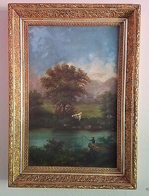 Antique Oil Painting And Frame Damaged Dated 1886 Landscape With Boy Fishing