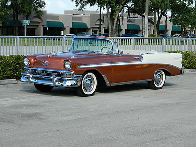 1956 Chevrolet Bel Air/150/210  1956 CHEVY BEL AIR CONVERTIBLE WITH A 265 V8 3 ON THE TREE SIERRA GOLD POLY