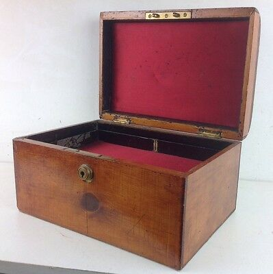 Vintage Wooden Box Chest Handle Brass Tray Jewellery Collectables Old