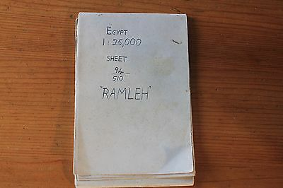 "collectible old egypt map 1940's ""Ramleh"" region (War map?)"