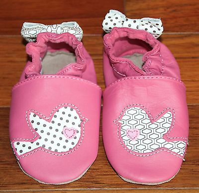 ROBEEZ Baby Girl Pink Bird Soft Shoes 6-12 Months - NEW
