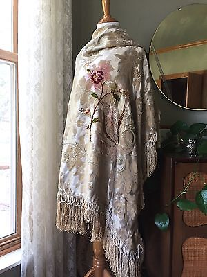 Antique Piano Shawl Victorian Damask 1800s Silk Chenille Floral Embroidery Cover