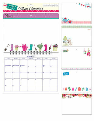 2017 Memo Calendar Month to View With Write on Wipe Off Pen Hanging Spiral 3050