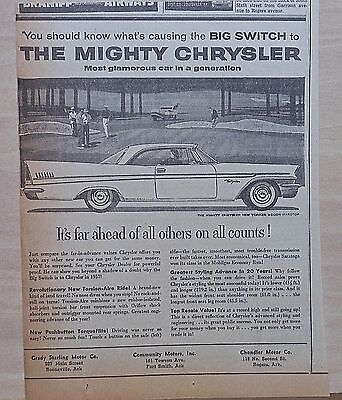 1957 newspaper ad for Chrysler - New Yorker 2-door hardtop at golf course